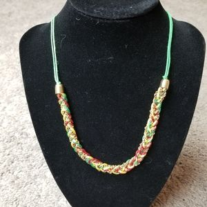 Mia collections red green & gold braided necklace